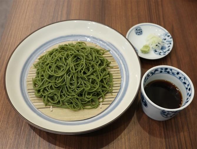 山茶花そば椿 抹茶入りのそばがお薦め 福岡市中央区